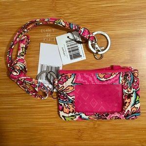 NWT Vera Bradley Zip ID + Lanyard Sunburst Floral